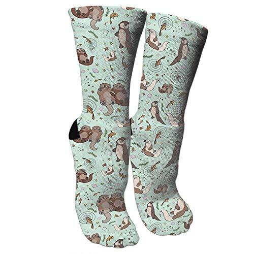 Bgejkos New Happy Sea Otter Printed Knee High Graduated Compression Socks for Women and Men - Best Medical, Nursing, Travel & Flight Socks - Running & Fitness -