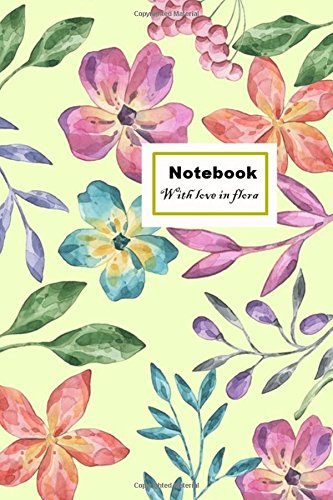 notebook with love in flora: yellow wallpaper: mini note paper blank: 100 pages: 6x9 for gift, girl, women, lady