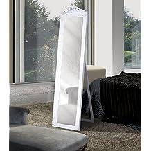 Espejo vestidor en madera,color blanco envejecido,copete,talla y soporte trasero,Medidas180x44 cm