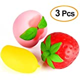 Kuuqa 3 Pcs Jumbo Squishy Strawberry Peach Mango Slow Rising Fruit Squishies Parfumé Kawaii Squishy Toy Charms Stress Relief Toys Party Supplies (Aléatoire Couleur)