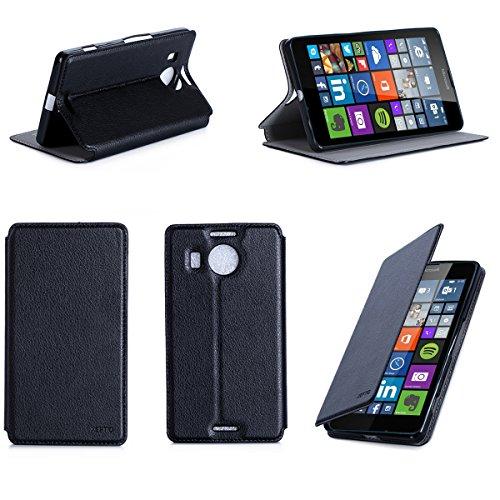 Microsoft Lumia 950 XL Dual Sim Tasche Leder Style schwarz Hülle Cover mit Stand - Zubehör Etui smartphone 2015 Lumia 950 XL Flip Case Schutzhülle (Handy tasche folio PU Leder, Black) - Brand XEPTIO accessoires