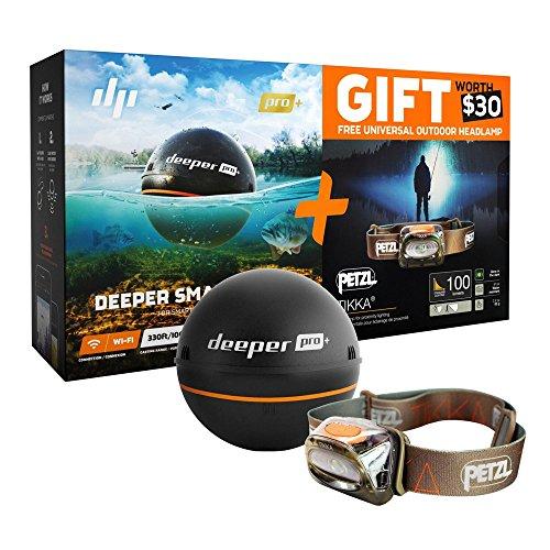 Fishfinder Deeper (Deeper ITGAM0432 PRO+ Smart Echolot mit PETZL Kopflampe schwarz)