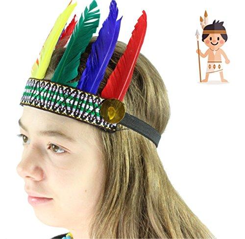 Indianerset Kostüm Indianer Kopfschmuck Stirnband bunte Federn Feder -