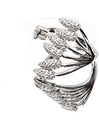 Sahiba Gems White American Diamond Stud Ring For Women/Girls