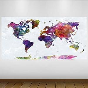 LagunaProject Extra Grande Púrpura del Mapa del Mundo Mapa de Vinilo Póster – Mural Decoración – Etiqueta de la Pared -140cm x 70cm