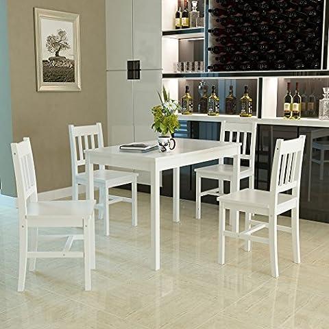 Panana Esstisch Stuhl Set Essgruppe Tischgurppe, Esstischgruppe Sitzgruppe Esszimmergarnitur, 108 x 65 x 73 CM , Tisch und 4 Stühle, Holz - Weiß