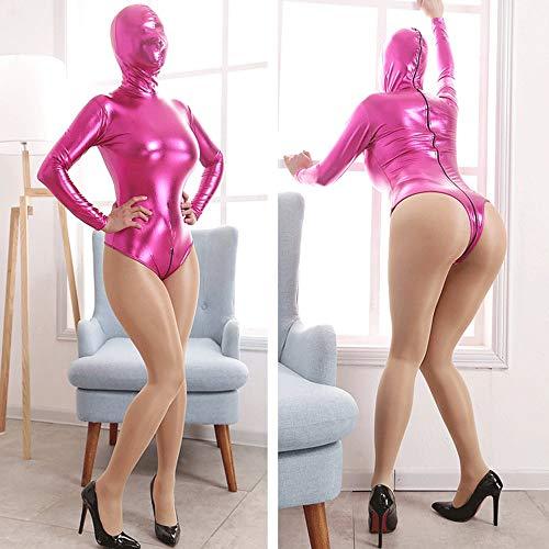 ngsjacke/Kostüm mit Kopfmaske (2 Belüftung), Onesies Ganz Körper Fesseln Restraint System, BDSM Slave Fetisch Spiel Sex Spielzeug für Frauen Männer, Paare,Pink-L ()