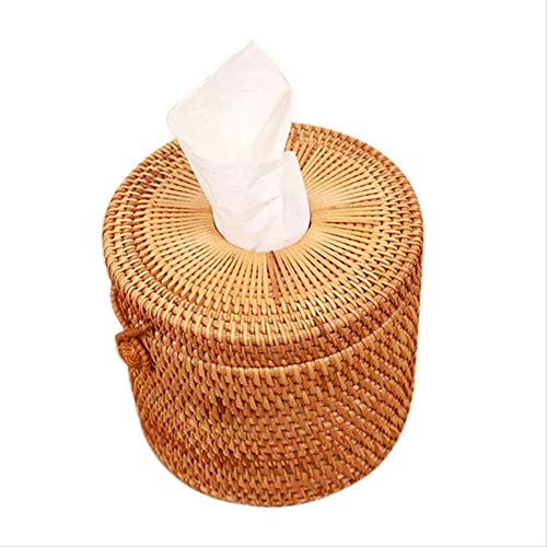 GLQA Taschentücherbox Papierhalter Rattan Woven Papierhandtuch Box Elegantes Auto Einzigartige Heimtextilien Handgemachte Tischplatte Tissue Container AufbewahrungsboxB -