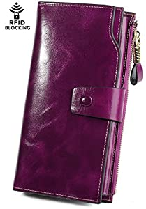 Yaluxe Women's RFID Blocking Wallet Large Capacity Luxury Wax Genuine Leather Wallet Purse With Zipper Pocket