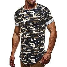 Camisa de manga corta Hombre Verano moda camisetas Camisas de camuflaje casual Tops blusa Pollover Koly delgada ocasional Camisetas y polos personalidad Men moda superior (Verde, 3XL)