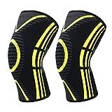 FANLI 2 Stück Atmungsaktiv Knieschützer, Laufen Kniebandage Anti-Slip Absturzsicher Für Sport Yoga Tanzen Männer Damen-schwarz + Gelb M