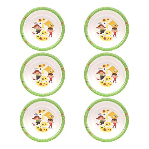 BlueBand Melamin Camping Teller, Kinderteller, flache Teller, Suppenteller, tiefe Teller mit Kinder Berufsmotiven, Farbe:6 tiefe Teller grün