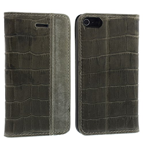 Blumax Apple iPhone 5/5s/SE Ultra-Slim Echtleder Flip-Case im Vintage-Look Croco Braun ohne Magnet Croco Grau