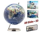Exerz AR Globo Diámetro de 25 cm de Base metálica - en Inglés - Aplicación de Realidad Aumentada interactiva y Divertida iOS y Android - Mapa, Educativo, Decorativo, Escuela, hogar, Oficina, Regalo