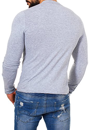 Carisma Herren Longsleeve T-Shirt langarm Knopfleiste mit großen Knöpfen slimfit tiefer V-Ausschnitt big buttons Grau