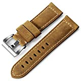iStrap Uhrenarmband 22mm 24mm 26mm Leder Vintage Militär Uhrenarmband Smart Watch Band Ersatzband für PANERAI 44 Männer für Huawei