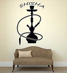 Haut Haut mur Stickers Chicha Narguilé Bar Fumeur arabe fumée Herbes Art Salle de vinyle (ig2680)