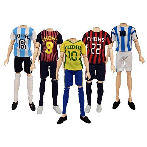 (Lance Home®4 Mode handgemachte Set Freizeitkleidung Fußball Trikots Kostüm Kurzarm Hose für Ken Barbie Dolls Puppen zufällige Stile)