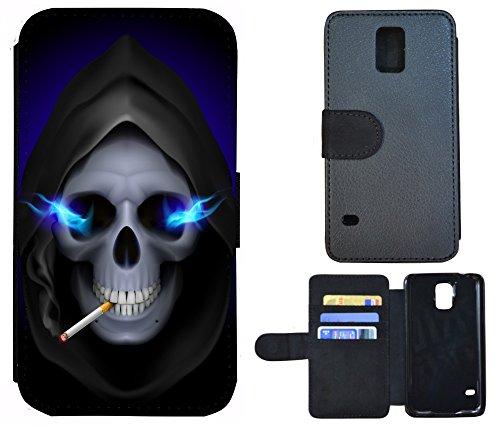 Coque Flip Cover Housse Etui Case Pour, Tissu, 1048 Totenkopf Sensenmann Zigarette, Apple iPhone 4 / 4s 1048 Totenkopf Sensenmann Zigarette