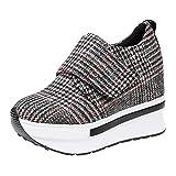 Lazzboy Damen Platform Sneaker Bequeme Plateau Freizeitschuhe Fitness(Rot,37.5)