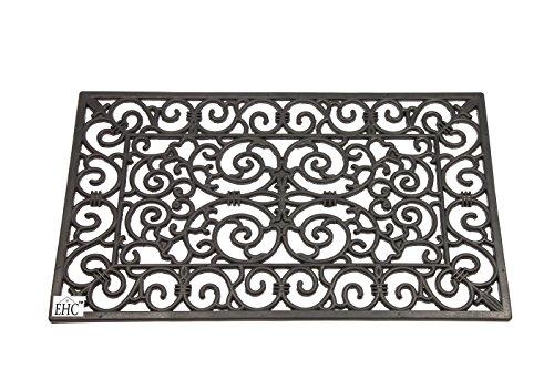 EHC - Zerbino rettangolare in gomma effetto ferro battuto, fronte retro, dimensioni grandi, 45 x 75