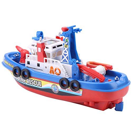 Modelo eléctrico de Barco Juguete con Luces de Sonido y Flash Pulverización de Agua Barco Playset Bañera Piscina Playa Pretender Juguete para niños Niño