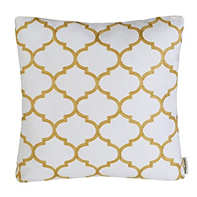 "Mika Home Embroidery Quatrefoil Accent Throw Pillowcase Cushion Covers for 18X18"" Inserts Cotton Fabric - low-cost UK light store."