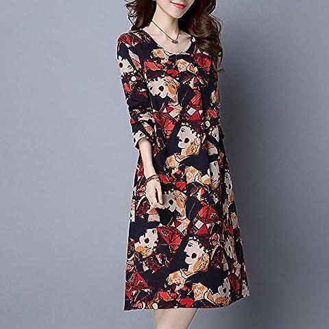 WZH Cintura media de cuello redondo de las mujeres falda Jersey impresión vestido inferior . red . xl