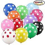 Isuper Luftballon 100 Stück Muitifarbe Ballon runden Punkte Polka Dot Luftballons Partyballon Bunte Ballons für Halloween, Weihnachten, Geburtstagsfeiern, Party, Hochzeitsfeiern
