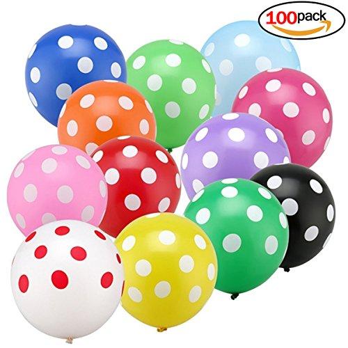 (Isuper Luftballon 100 Stück Muitifarbe Ballon runden Punkte Polka Dot Luftballons Partyballon Bunte Ballons für Halloween, Weihnachten, Geburtstagsfeiern, Party, Hochzeitsfeiern)