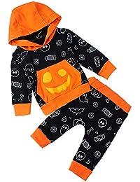 RAISEVERN Unisex Baby Jungen Mädchen Kapuzenpulli Hosen Trainingsanzug Hoodie Outfits Set Halloween Kleidung 0-24Month
