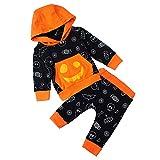 RAISEVERN Infant Baby Jungen Halloween Langarm Outfits Tasche Candy Hoodie Top und Hose Kleidung Set für 12-18m