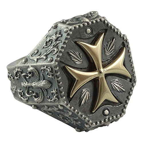 handarbeit-gelb-gold-10-k-und-sterling-silber-925-tempelritter-herren-freimaurer-ring-mittelalter-ma