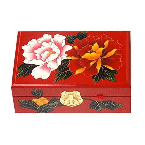 Blancho Style chinois boîte à bijoux en bois avec verrouillage Pivoine
