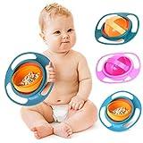 Kinder Baby Schüssel Kleinkind Anti-verschütten Fütterung Schüssel 360 Grad Rotierend Gyro Schüssel Blau