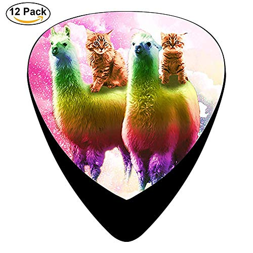 Kitty Cat Riding On Rainbow Llama In Celluloid Guitar Picks Unique designs Music Gifts