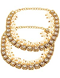 Shining Diva Antique Gold Kundan Pearl Payal Anklets for Girls and Women(Golden)(7641a)
