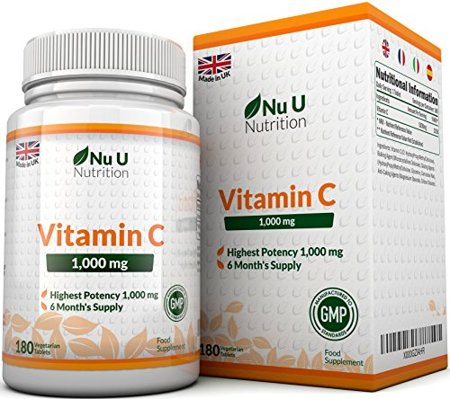 Vitamin C 1000mg 180 Tablets (6 Month's Supply) Ascorbic Acid, Suitable for Vegetarians & Vegans by Nu U Nutrition Test
