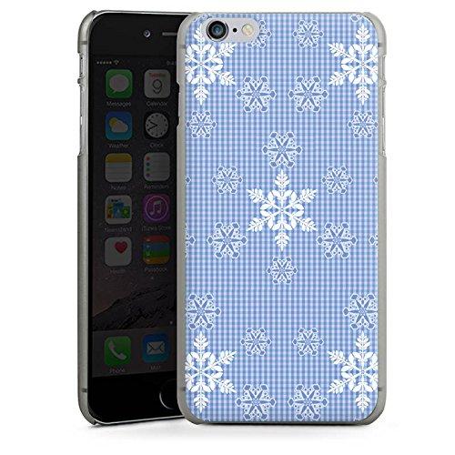 Apple iPhone X Silikon Hülle Case Schutzhülle Schneeflocken Weiß Blau Muster Hard Case anthrazit-klar