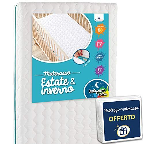 Babysom - materasso lettino bambino climatizzato + 1 coprimaterasso impermeabile offerto | per neonato - 60x120cm - sfoderabile - altezza 12cm - lato estivo/lato invernale