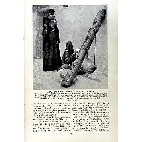 Impresión Antigua de la Mujer Árabe Egipto de Nubian de la Mantequera de la Piel De Cabra de la Lechera C1920