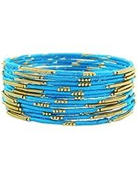 bcd7e7e542e6 Banithani pulseras envueltos hilo de seda i dorado regalo de joyería de  moda para las mujeres