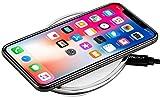 StilGut Wireless Charging Pad aus Aluminium und Kunstleder-Pad, Silber/weiß