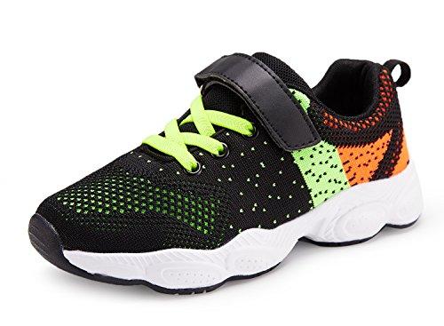 Chaussure de Course Sport Walking Shoes Running Compétition Entraînement Chaussure à la Mode, Sneakers Basket Chaussure Scolaire l'école Garçon Fille Enfant (30 EU, Vert#1)