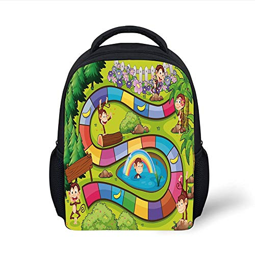Kids School Backpack Board Game,Monkeys Apes in Forest Colorful Curve Line Tropical Jungle Bananas Funny Silly Decorative,Multicolor Plain Bookbag Travel Daypack -