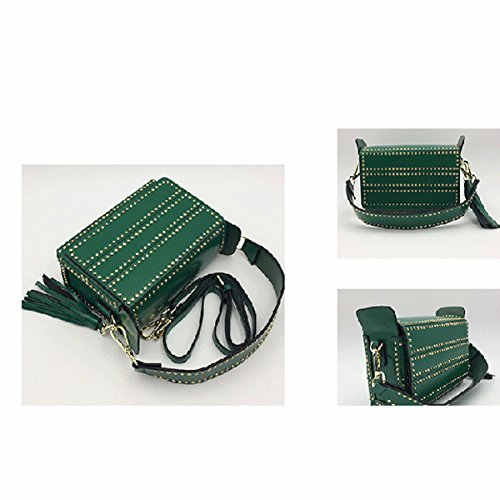 Donna In Pelle Rivetto Borsa Di Cuoio Borsa A Tracolla Crossbody Multicolore Green