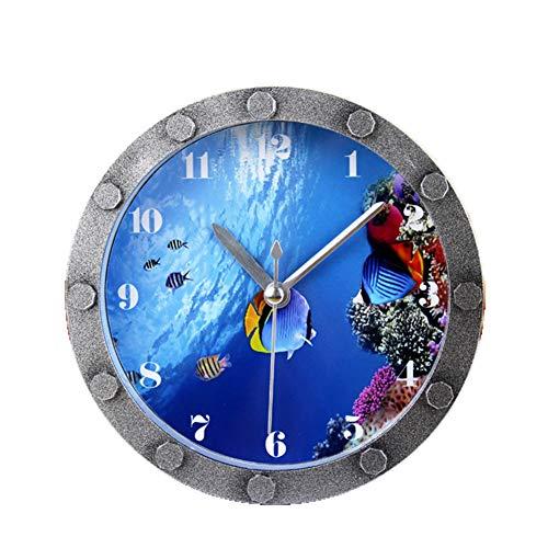 ZJWZ Kleine Wecker Metall Textur Aquarium Miniatur Unterwasserwelt Fisch Gruppe Cartoon Digital Schlafzimmer Studie Sitz Uhr Garten Stumm -