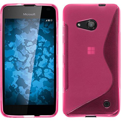 PhoneNatic Case kompatibel mit Microsoft Lumia 550 - pink Silikon Hülle S-Style + 2 Schutzfolien