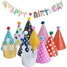 Diealles Feliz Cumpleaños Banner con 9 Birthday Sombreros y 2 Birthday Crowns para Las Decoraciones de La Fiesta de Cumpleaños de Los Niños