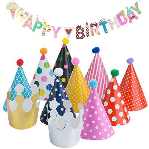 Geburtstag Party Feier Dekoration, Diealles Happy Birthday Girlande mit 9 Partei Hüte, 2 Krone für Kinder's Geburtstag Party Dekoration